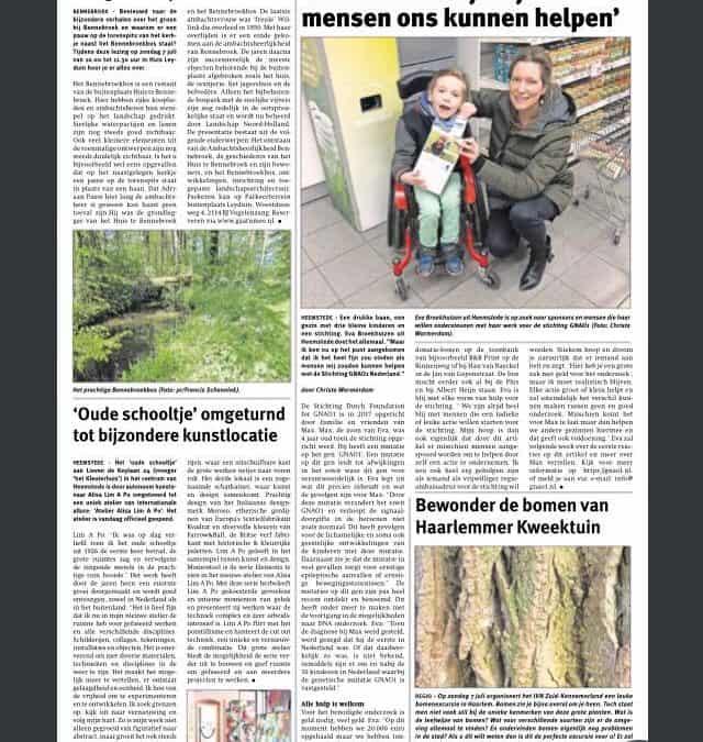 Artikel in Heemsteeds Nieuwsblad